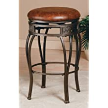 Hillsdale Montello 26-Inch Backless Swivel Counter Stool, Old Steel Finish with Brown Faux-Leather