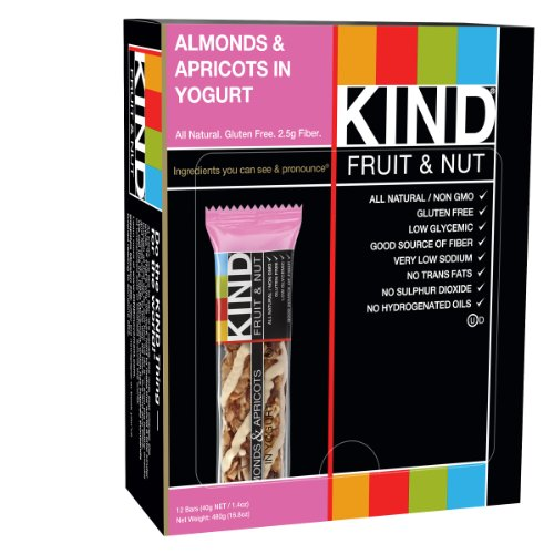 KIND Bars, Almonds & Apricot in Yogurt, Gluten Free, 1.4 Ounce Bars, 12 Count (Kind Bars With Yogurt compare prices)