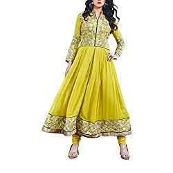 Destiny Enterprise Designer Gorgette Unstitched Lemon Color Salwar Suit Dress Material for Women