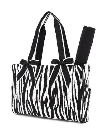 Belvah Quilted Zebra 2Pc Diaper Tote Bag - Choice Of Colors (Black)