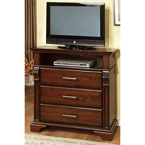 Furniture Of America Bixby Collection 3 Drawer Media Chest - Antique Walnut, Brown, Wood front-907339