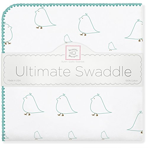 SwaddleDesigns Ultimate Receiving Blanket, Mama & Baby Chickies, SeaCrystal