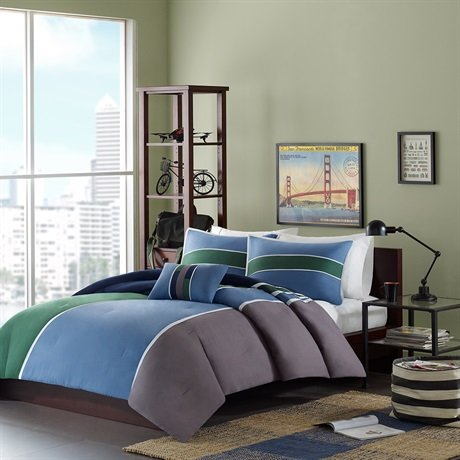 Navy And Grey Bedding 7990 front