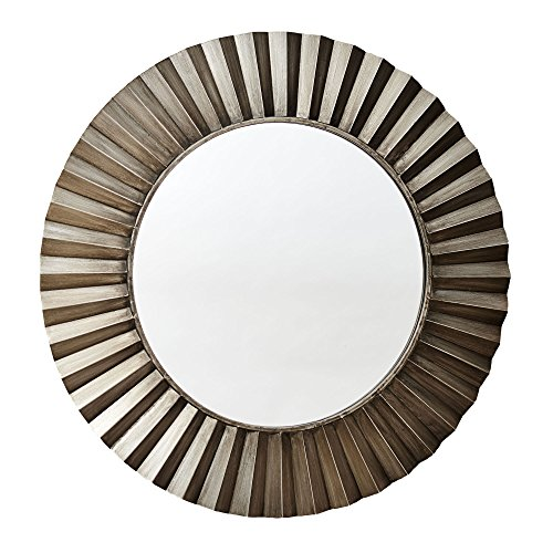 Household Essentials Round Decorative Sunburst Wall Mirror, Bronze