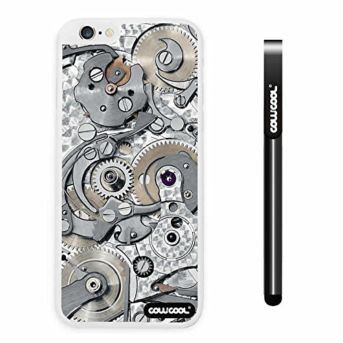 CowCool® Apple Iphone 6 Plus 5.5 Inch Case Hard PC Gear tour machinery White Shell Single Layer Protective Case (#4)