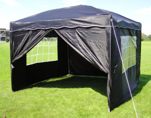 3x3mtr Black Pop Up Gazebo, FULLY WATERPROOF, INCLUDES FREE WHEEL BAG and Four Sides.