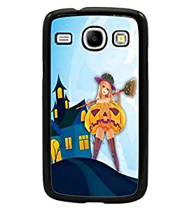 PrintDhaba Girl with Broom D-3288 Back Case Cover for SAMSUNG GALAXY CORE i8262 (Multi-Coloured)