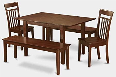 5-Pc Wooden Dining Set with 2 Chairs