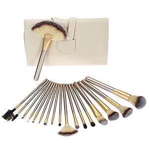 Nestling® professionnels Cosmétiques Maquillage Brush Set Outils Cosmetic Kit maquillage Brush with Retroussez PU Sac en cuir, poignée en bois (18pcs Champagne)