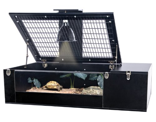 Penn Plax Tortoise Palace with Wire Top, Black Frame and Glass Terrarium (Box Turtle Habitat compare prices)