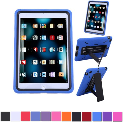 Hde Heavy Duty Kid Proof Hybrid Shockproof Case - Silicone Skin Case & Hard Protector Cover Case With Kick Stand For Apple Ipad Mini With Retina Display (Blue)