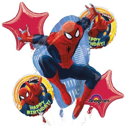 1 X Ultimate Spiderman Happy Birthday Mylar Foil Balloon Bouquet Set