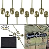 Pack of 10 Tactical Gear Clip Molle Web Dominators for Outdoor Hydration Tube Backpack Straps Management with Zippered Pouch by BOOSTEADY Coyote Tan (Color: Coyote Tan)