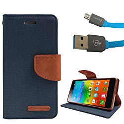 DMG Premium Canvas Diary Wallet Folio Book Cover for Lenovo K3 Note (Blue) + Micro USB Data Cable