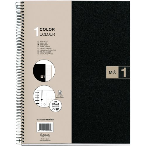 Miquelrius Single Subject Spiral Notebook, Graph/Quad Pages, Grey, 80 Sheets (8.5