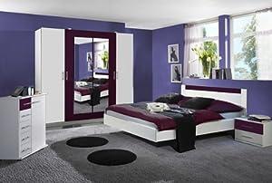 Schlafzimmer norina schrank bett 2 nachttische wei brombeer k che haushalt - Schlafzimmer brombeer ...