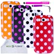 ECO-FUSED 9 pieces Polka Dot Flex Gel Cover Case Bundle for Samsung Galaxy S III S3/4 Polka dot Cover Cases (Orange, Black, White, Red)/2 Stylus (Hot Pink/Purple)/2 Screen Protectors - ECO-FUSED Microfiber Cleaning Cloth included
