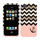 2D Black Pink Anchor Chevron Apple Iphone 5, 5S at&t. Verizon, Sprint, C Spire Case Cover Hard Phone Case Snap-on Cover Protector Rubberized Touch Faceplates