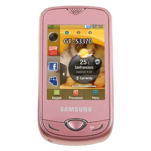 Samsung S3370 3G - UMTS (6,6 cm (2,6 Zoll) Display, Touchscreen mit VibeTonzTM-Effekten, 1,3 Megapixel Kamera, MP3,) Smartphone , KEIN SIMLOCK/Vertrag/Branding inkl. Vodafone Prepaid CallYa Starter mit 1 Euro Startguthaben, PINK