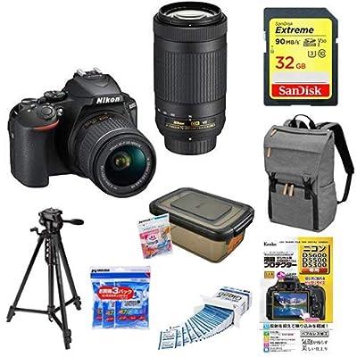 Nikon デジタル一眼レフカメラ D5600 ダブルズームキット ブラック D5600WZBK + SanDisk ウルトラ SDHCカード 32GB Class6 UHS-I [エコパッケージ]