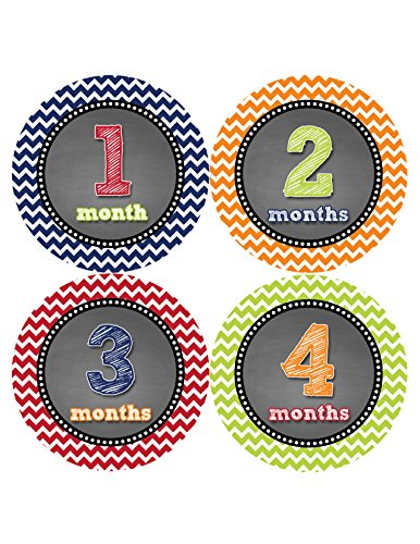 Months in Motion 420 Monthly Baby Stickers Baby Boy Month 1-12 Milestone Age Sticker Photo Prop - 1