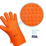 Etekcity Silicone BBQ Grill Heat Resistant Gloves, FDA Approved (Orange)