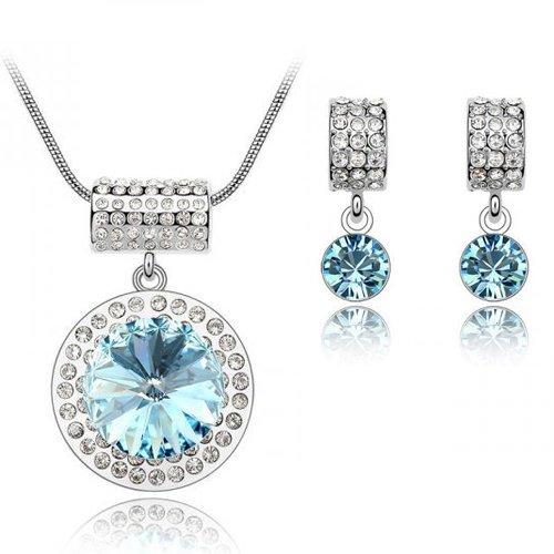 Aquamarine Blue Crystal Earrings & Pendant Set (Made With Swarovski Element)
