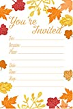 Fall Leaves Fill In Invitations - Wedding, Bridal Shower, Baby Shower, Engagement Party, Birthday - (20 Count) With Envelopes