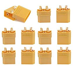 T Trees Xt90 Battery Connector Set For Rc Lipo Battery Motor 5 Pairs Yellow ,5 Male Connectors + 5 Female Connectors
