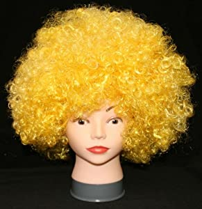 Aunt of Osaka vivid color Afro wig wig cosplay costume party Stage Costume / yellow yellow yellow flashy surprised super de (japan import)