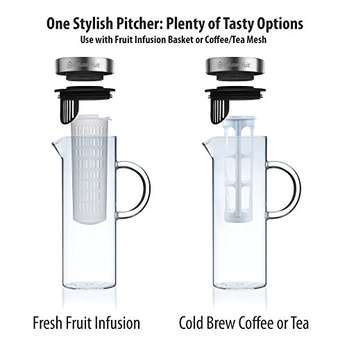 Cold-Brew-Coffee-and-Iced-Tea-Maker-Fruit-Infusion-Premium-Glass-Pitcher-With-Stainless-Steel-Lid-2-Interchangeable-Infuser-Tubes-Large-capacity-16-Quarts-52-ounces-1500ml