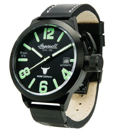Ingersoll 'Bison No. 6' gents black dial black leather strap watch
