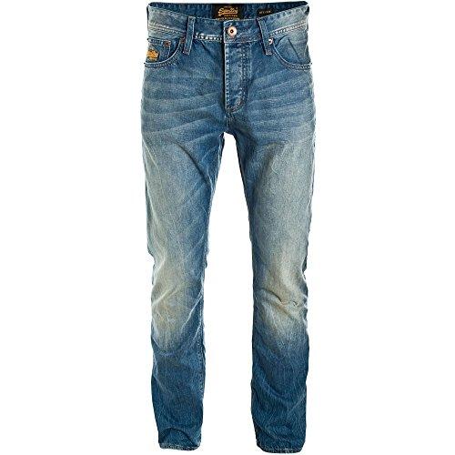 Superdry Officer dritto Jeans blu indossato Blue Worn 32 Short