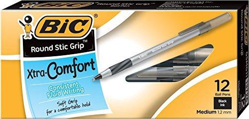 bic-round-stic-grip-xtra-comfort-ball-pen-medium-12-mm-black-12-count