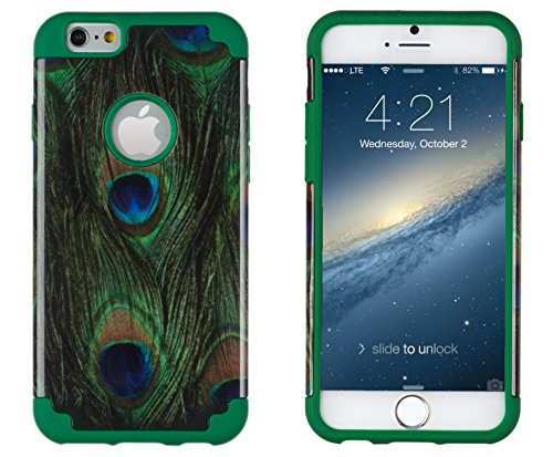 """Iphone 6, Dandycase 2In1 Hybrid High Impact Hard Peacock Pattern + Green Silicone Case Cover For Apple Iphone 6 (4.7"""" Screen) + Dandycase Screen Cleaner"""