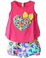 Baby Girls and Girls Kids Love Print Sleeveless T-shirt Flower Shorts