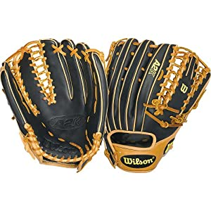 """Wilson A2K 12.75"""" Six Finger Trap Style Web Outfield Baseball Glove, Right Hand Throw"""