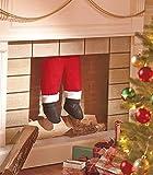 Santa Legs Hanging Coming Down the Chimney