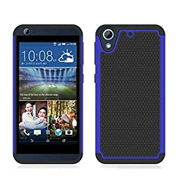 HTC Desire 626 626S Case ,Creazy® Rubber Hybrid Hard Silicone Shockproof Case Cover (Blue)