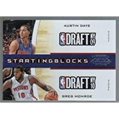 Buy 2010-11 Playoff Contenders Patches Starting Blocks #5 Austin Daye - Greg Monroe by Panini