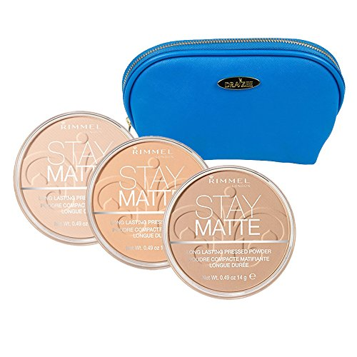 Rimmel 'Stay Matte' Pressed Powder Kit with Three Shades; Natural, Nude Beige and Buff Beige with Deep Blue Draizee Leather Cosmetic Bag