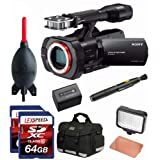 Sony NEX-VG900 Full-Frame Camcorder (Black) + Sony Battery + 120 + Two (2x) 64GB Cards + Bag + Lens Cleaning System + Giotto's Blower