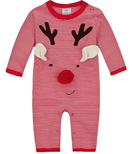 Sunnysame Baby Christmas Bodysuit Cotton Long Sleeve Red Stripes (12M)