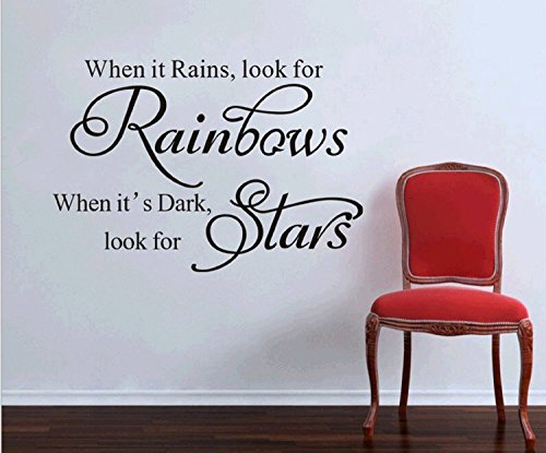 Amaonm® When It Rains Look for Rainbows New Style Quotes Wall Decal Sticker Decor for Baby's Room Removable Vinly Wall Decals Stickers for Kids Children Boys and Girls Bedroom Bathroom Living Room - 1
