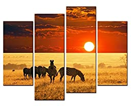 Modern Home Decoration painting Animal Wall Art a Group of Zebras Leisurely Eating Grass in the Setting Sun 4 Panel Picture on Canvas