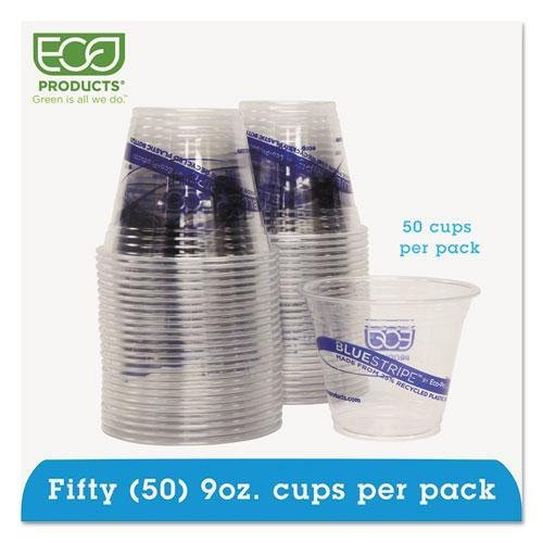 ECO-PRODUCTS, INC. BlueStripe Recycled Content Clear Plastic Cold Drink Cups, 9oz, Clear, 50/Pack (EPCR9PK)