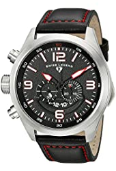 Swiss Legend Men's 10020-01-RDA Highlander Stainless Steel Watch with Black Leather Band
