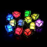 CDQ Multicolor Light Decorative LED Liquid Sensor Ice Cubes Shape Lights Submersible LED Glow Light Up for Bar Club Wedding Party Champagne Tower Decoration Flash Light -12 Pack