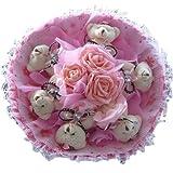 【ノーブランド品】可愛い くま束 熊束 ベア ブーケ ( 薔薇 くま6匹) ぬいぐるみ 結婚記念日 出産祝い 誕生日 プロポーズ ギフト 用 (ピンク)