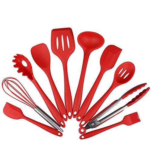 YOOYOO 10Pcs/set Silicone Heat Resistant Kitchen Cooking Utensils Non-Stick Baking Tool (Silicone Spoon Rester compare prices)